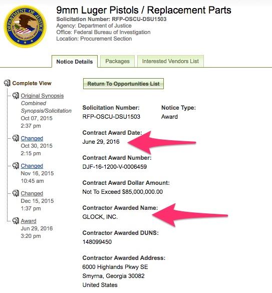Glock Awarded FBI Contract