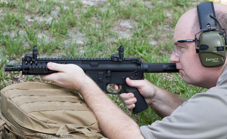 shooting the CMMG pistol prone