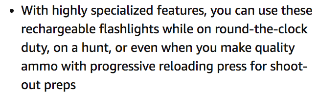 Wowtac A7 Tactical Flashlight Claims on Amazon